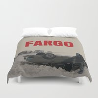 movie poster Duvet Covers featuring Fargo Movie Poster  by FunnyFaceArt