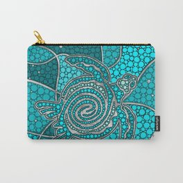 Turtle Aboriginal Dot Art Teal and silver Carry-All Pouch