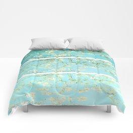 Vincent Van Gogh Almond Blossoms  Panel arT Aqua Seafoam Comforters