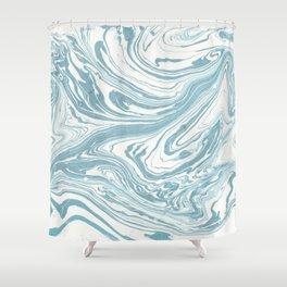 Malibu Blue Marble Retro Print Shower Curtain