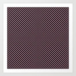 Black and Orchid Smoke Polka Dots Art Print