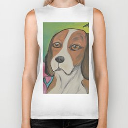 """Alyvia"" Beagle Lily Painting Biker Tank"