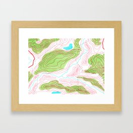 Let's go hiking - topographical map Framed Art Print