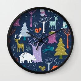 winter woodland animals Wall Clock