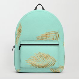 mint gold leaves Backpack