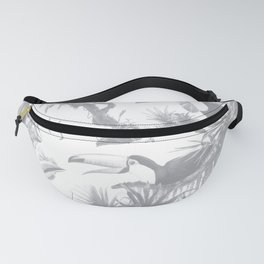 Toucans and Bromeliads - Sharkskin Grey Fanny Pack