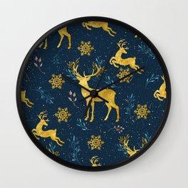 Golden Reindeer Wall Clock