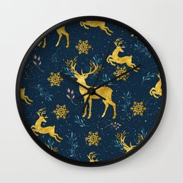 Golden Reindeer Wall Clock