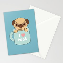 Kawaii Cute I Love Pugs Stationery Cards