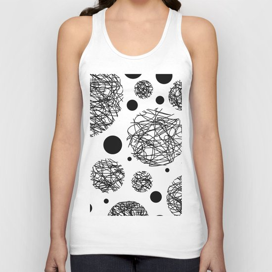 Scribbles - Black and white scribbles and black circles pattern on white Unisex Tank Top