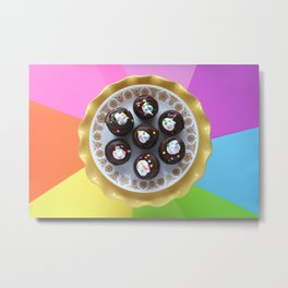Chocolate Cupcakes with Rainbow Sprinkles Metal Print