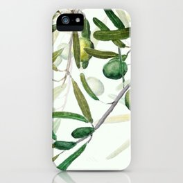 Green Olive watercolor painting iPhone Case