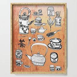 Chinese Tea Doodles 2 Serving Tray