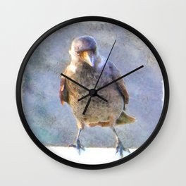 Jackdaw Watercolor Wall Clock