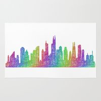 chicago Area & Throw Rugs featuring Chicago by David Zydd