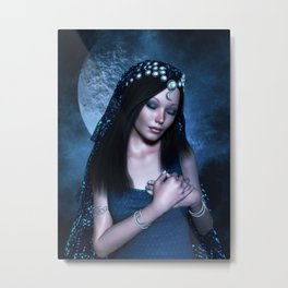 Praying Moon Goddess Metal Print