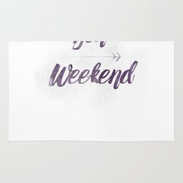 Bon Weekend Grungy lettering Rug