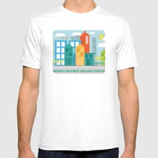 Geometric City Mens Fitted Tee MEDIUM White