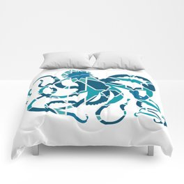 GREAT OCTOPUS SILHOUETTE WITH PATTERN Comforters