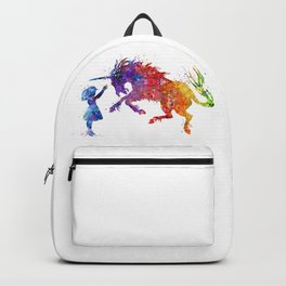 Girl and Unicorn Colorful Rainbow Watercolor Kids Gift Backpack