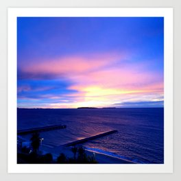 Blue Sunset in Cannes La Bocca Art Print