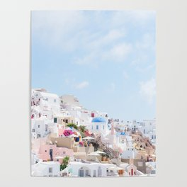 Pastel Colored View on Santorini Greece Poster