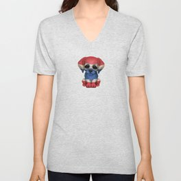 Cute Puppy Dog with flag of Thailand Unisex V-Neck