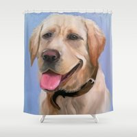 labrador Shower Curtains featuring Labrador by OLHADARCHUK