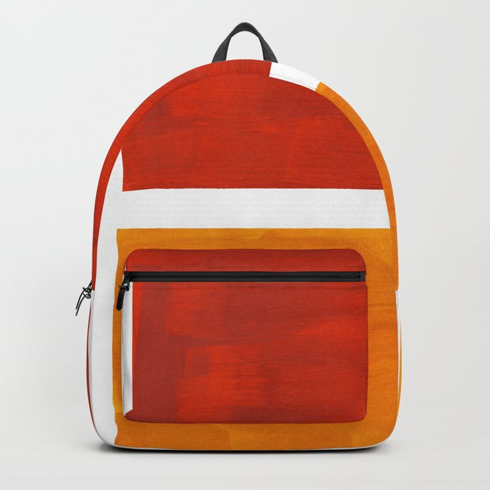 Burnt Orange Yellow Ochre Mid Century Modern Abstract Minimalist Rothko Color Field Squares Backpack