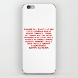 Support All Women (red) iPhone Skin