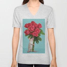 Happy Rat 01, Holding Roses. Unisex V-Neck