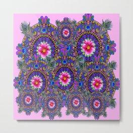 PINK & BLUE #2 PEACOCK MANDALAS WITH  FUCHSIA FLOWER ART Metal Print