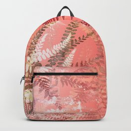 Elegant Coral Gold Fern Leaves Abstract Pattern Backpack
