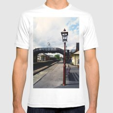 Waiting For A Train MEDIUM White Mens Fitted Tee
