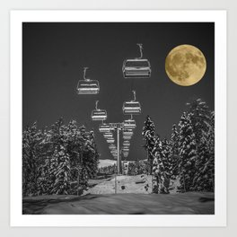 Chair Lift to the Moon Art Print