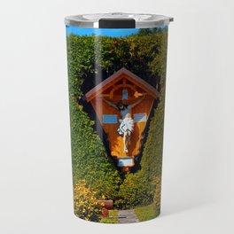 Jesus, a cross and a trimmed bush Travel Mug