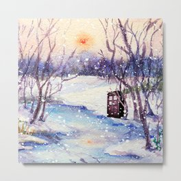 Tardis At The River Snow Metal Print