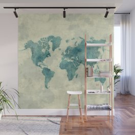 World Map Blue Vintage Wall Mural