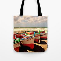 boats Tote Bags featuring boats by  Agostino Lo Coco