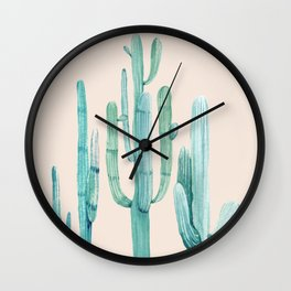 Three Amigos Turquoise + Coral Wall Clock