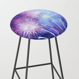 Blue and pink fireworks Bar Stool