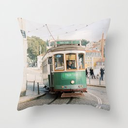 Green Tram in Lisbon | Portugal StreetcarTravel photography | Europe Trolley Throw Pillow