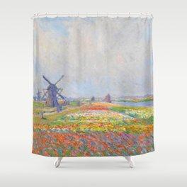 "Claude Monet ""Tulip Fields near The Hague"" Shower Curtain"
