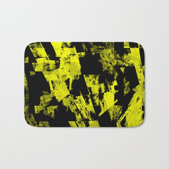 Fractured Warning - Black and yellow, abstract, textured painting Bath Mat