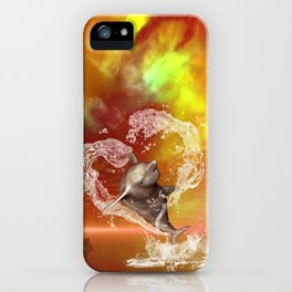 Dolphin jumping by a heart made of water iPhone Case
