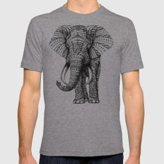 Ornate Elephant LARGE Mens Fitted Tee Tri-Grey