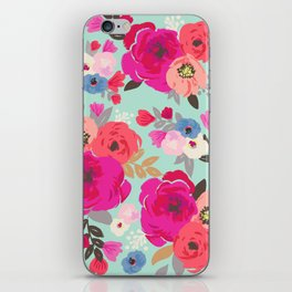 Sweet Pea Floral Aqua iPhone Skin