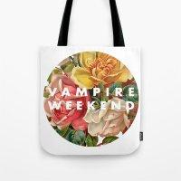vampire weekend Tote Bags featuring Vampire Weekend vintage flowers by Elianne