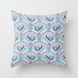 Art Deco Fresco in Cool Mediterranean Blue and Red Throw Pillow