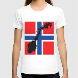 Norwegian Flag with Map of Norway T-shirt